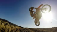 Slow Motion shot of Extreme Motocross Rider On Dirt Track video