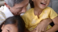 Slow Motion Shot Of Grandfather And Granddaughters Laughing video