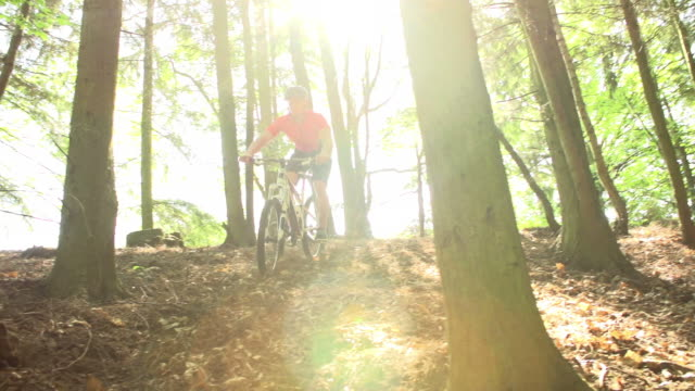Slow Motion Shot Of Man Riding Mountain Bike Through Woods video