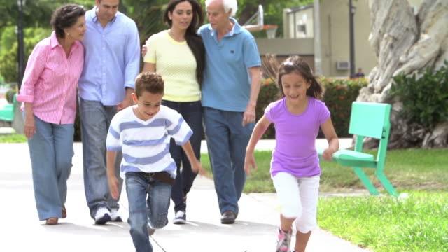 Slow Motion Shot Of Multi Generation Family Walking In Park video