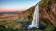 Slow Motion shot of Seljalandfoss Waterfall in Iceland video