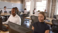 Slow Motion Shot Of Staff In Customer Service Department video