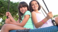 Slow Motion Shot Of Two Girls On Swing In Playground video