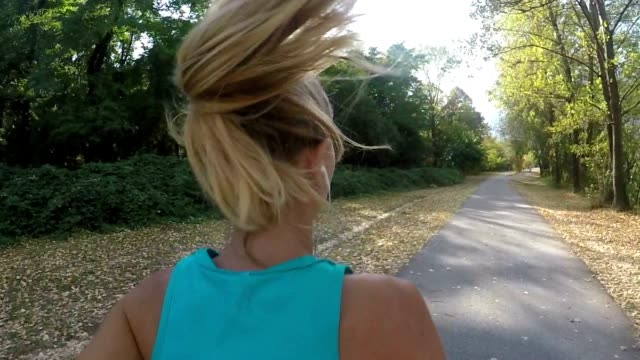 Slow motion shot of woman running video
