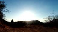 Slow Motion Silhouette of Man Mountain Biking At Sunset HD video
