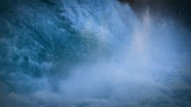 Slow motion spectacular aqua colored waterfalls. New Zealand: Huka Falls. video