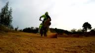 Slow motion start of motocross bike. video