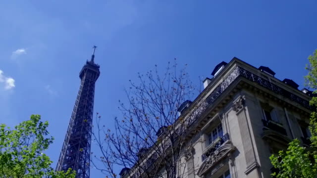 Slow motion - The Eiffel Tower, Paris, from underneath video