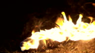 Slow motion: Torch flame fire video