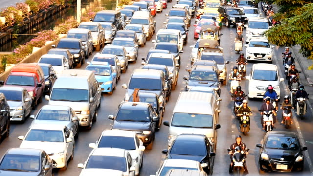 HD slow motion: Traffic jam on the road video