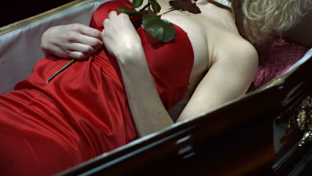 HD Slow Motion: Vampire Lying Down In A Coffin video