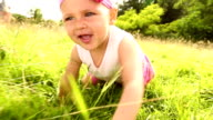 Slow motion video of baby crawling in park video