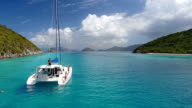 Slow motion video of Jumping off a catamaran video