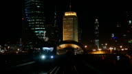 Slow motion view of downtown Dubai nightscape from the metro. video