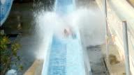 Slow motion water park slide video