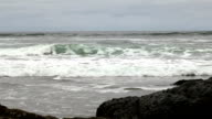 Slow Motion Waves Approaching Beach With Lava Rocks video