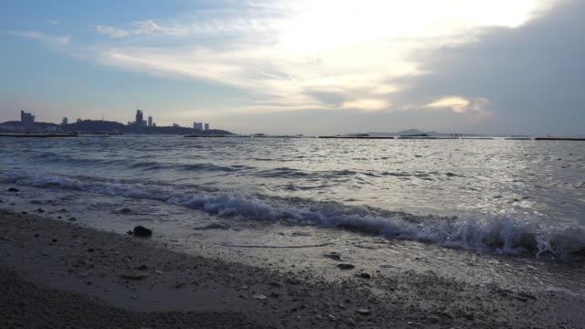 Slow Motion Waves Hitting Pattaya beach. Thailand video
