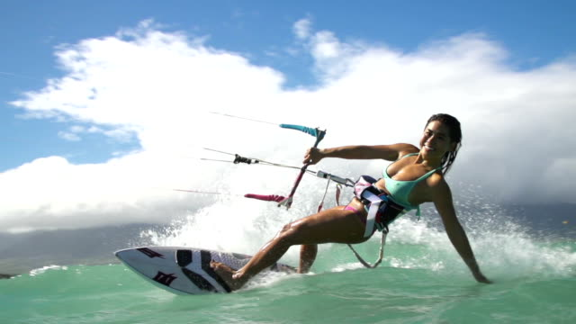 Slow Motion Woman Kite Surfing, Extreme Sport video