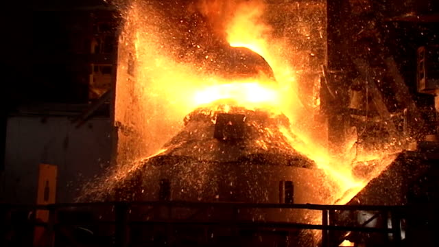 slow motion. working basic oxygen furnace video