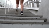 Slow Motion Young Mixed Race Woman Running Up City Stairs video
