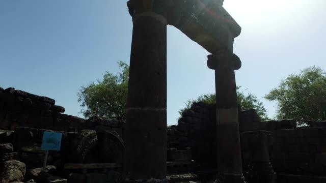 Slow Pan of Top of Old Synagogue Ruins in Israel video