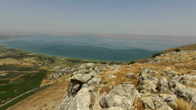 Slow Pan Over Countryside from Top of Mount Arbel video