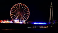Slow pan timelapse of Blackpool Tower & North Pier video