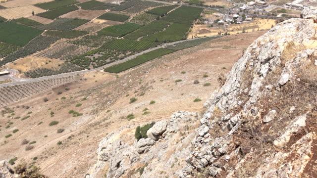 Slow Pan Up Side of Mount Arbel in Israel video