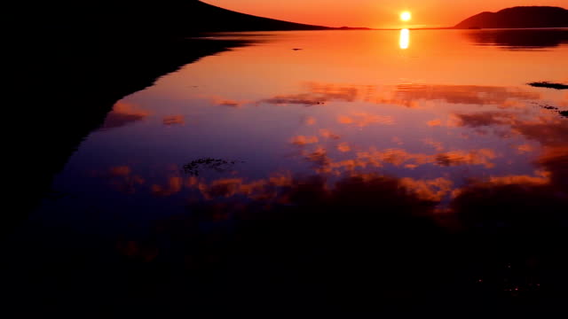 Slow Pan up to Amazing Sunset Reflection on the Water. video