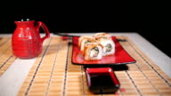 Slow Slide Motion Of Sushi For Two video