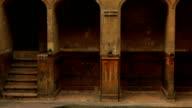 Slow tilting shot of the beautiful Roman spa complex in Bath, UK video