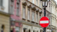 Slow Zoom In, Wrong Way Sign, European City Street and Buildings video