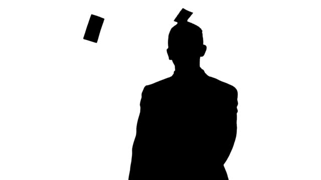 Slow-Mo: Silhouette Of A Man Throwing Money Into Air video