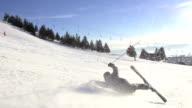 Slow-Mo: Skier Falling Down On Ski Track video
