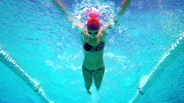 HD Slow-Mo: Young Woman Swimming Butterfly video