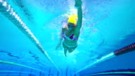 HD Slow-Mo: Young Woman Swimming Front Crawl video