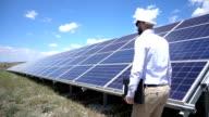 Slowmotion Technician At Solar Power Station video