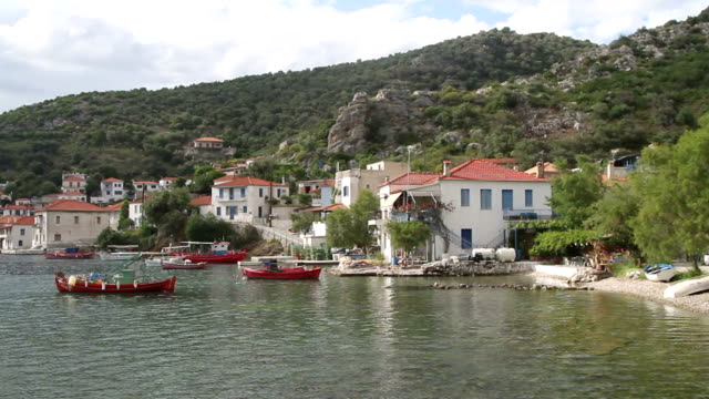 Small bay and boats near the shore video