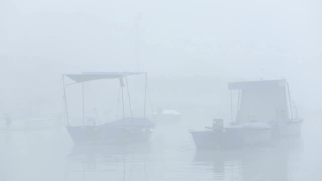 Small boat in fog video