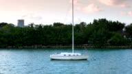 Small boat near the small islands of Miami video