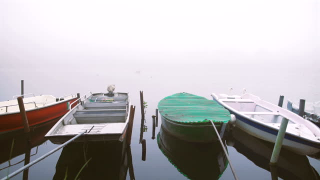 Small boats and birds by the river in the fog video