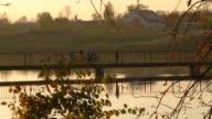 small bridge on a sunset video