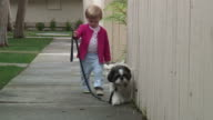 (HD1080i) Small Child Walking Dog Towards Camera, Zoom Out video