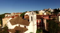 Small church in the old Lisbon aerial view video