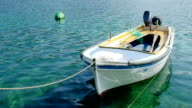 Small fishing boat anchored in marine video