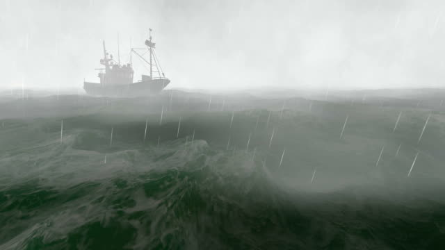 Small fishing boat in the stormy night video