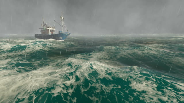 Small fishing boat in the stormy sea video