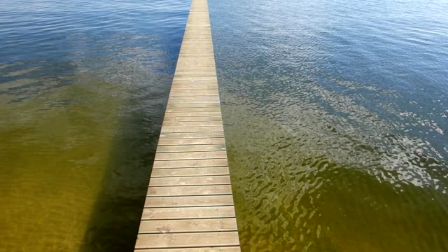Small Jetty On Lake Sunny Landscape video