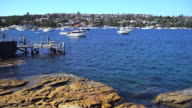 Small leisure boats in a small bay in Sydney video