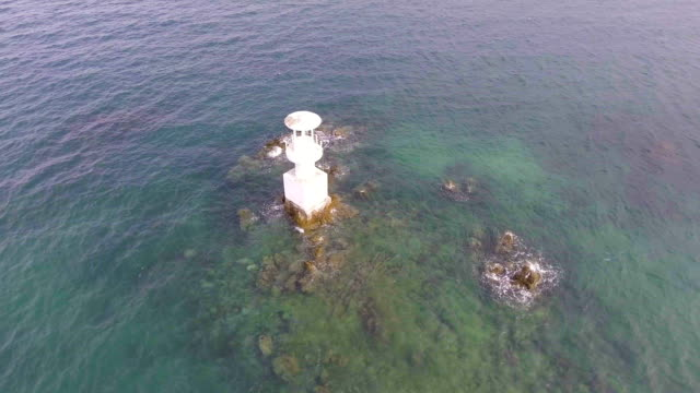 Small Lighthouse in Sea for Alerting Strand Area video